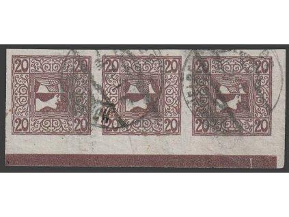 1908, 20H Merkur, 3páska s DZ I, MiNr.160, razítkované, faldy