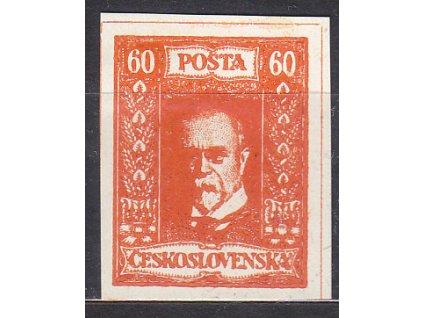 60h TGM, nerealizovaný oranžový návrh na čs. zn. na bílém papíru bez lepu
