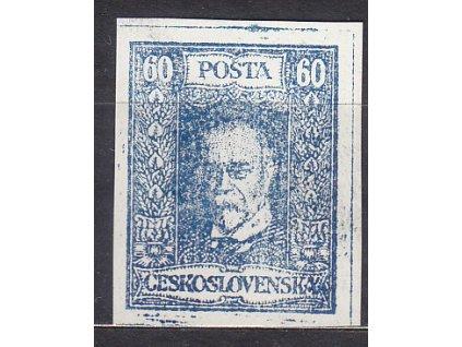 60h TGM, nerealizovaný modrý návrh na čs. zn. na bílém papíru bez lepu