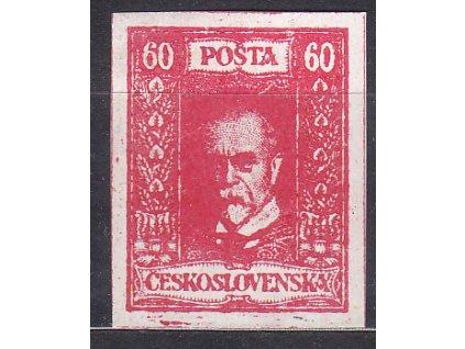 60h TGM, nerealizovaný červený návrh na čs. zn. na bílém papíru bez lepu