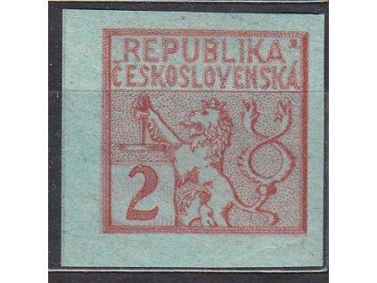 Návrh na čs. kolek 10h v červené barvě na známkovém papíru s lepem, * po nálepce, cca 1920