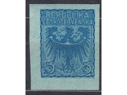 Návrh na čs. kolek 5h v modré barvě na známkovém papíru s lepem, * po nálepce, cca 1920