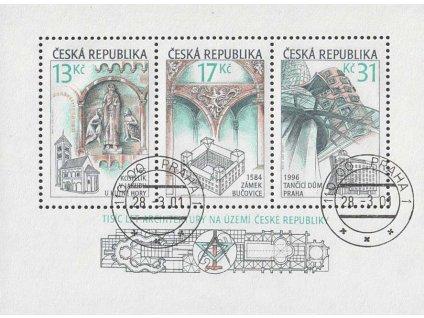 2001, 13-31Kč aršík Tisíc let architektury, razítkované