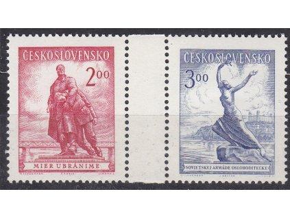 1952, 2-3Kčs Bratislava, spojka z aršíku, Nr.691-2, **