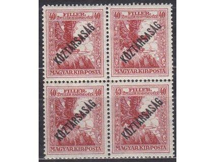 40f Válečné, přetisk Köztársaság, 4blok, známky platné v ČSR, **, přeloženo v perforaci