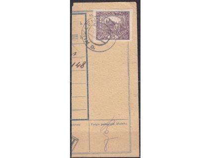 Ústřižek průvodky vyfr. zn. 25h fialová - příčkový typ, razítko KUKLENY 20.12.19