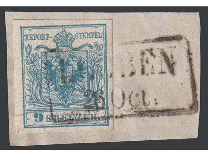1850, 9 Kr Znak, razítko Leoben, výstřižek, MiNr.5