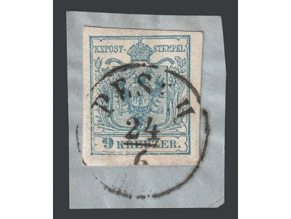 1850, 9 Kr Znak, razítko Pesth, výstřižek, MiNr.5