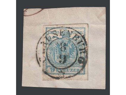 1850, 9 Kr Znak, razítko Clausenburg, výstřižek, MiNr.5