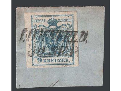1850, 9 Kr Znak, razítko Lilienfeld, výstřižek, MiNr.5
