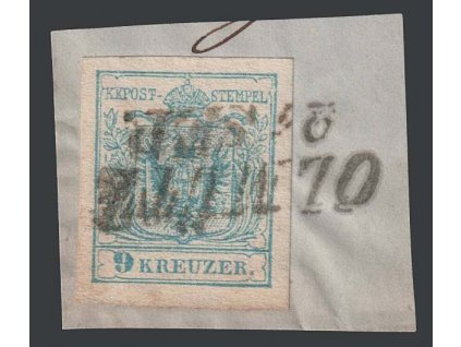 1850, 9 Kr Znak, razítko Olmütz, výstřižek, MiNr.5