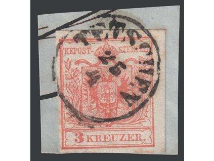 1850, 3 Kr Znak, razítko Tetschen, výstřižek, MiNr.3