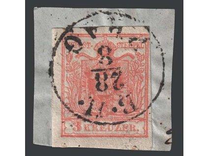 1850, 3 Kr Znak, razítko B.H. Prag, výstřižek, MiNr.3