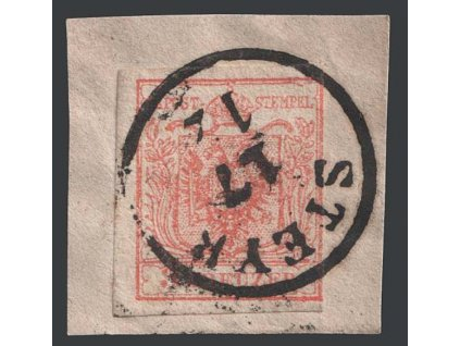 1850, 3 Kr Znak, razítko Steyr, výstřižek, MiNr.3