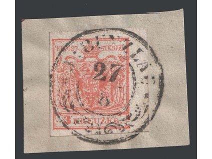 1850, 3 Kr Znak, razítko J:Bunzlau, výstřižek, MiNr.3