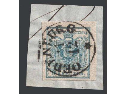 1850, 9 Kr Znak, razítko Odenburg, výstřižek, MiNr.5