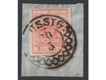 1850, 3 Kr Znak, razítko Aussig, výstřižek, MiNr.3