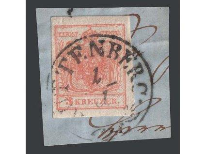 1850, 3 Kr Znak, razítko Kuttenberg, výstřižek, MiNr.3