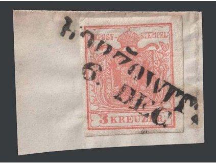 1850, 3 Kr Znak, razítko Horžowitz, výstřižek, MiNr.3
