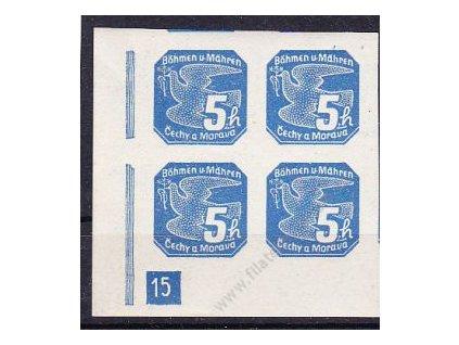 1939, 5h modrá, levý dolní roh. 4blok s DČ 15, Nr.NV2, **