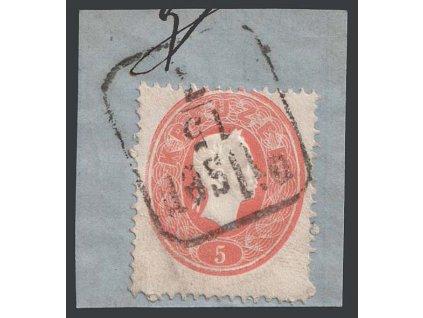 1860, 5 Kr Franc Josef, razítko Pilsen, výstřižek, MiNr.20