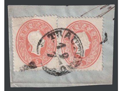 1860, 5 Kr Franc Josef, razítko Trautenau, výstřižek, MiNr.20