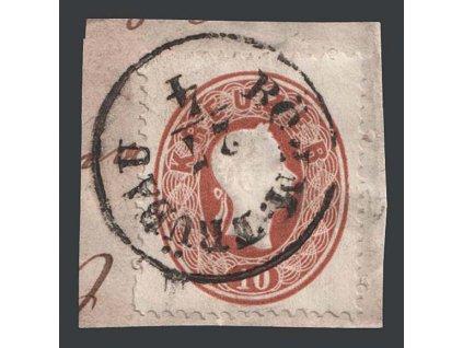1860, 10 Kr Franc Josef, razítko Böem: Trübau, výstřižek, MiNr.21