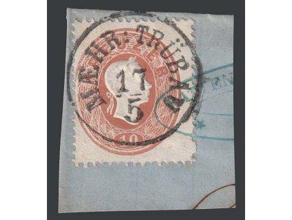 1860, 10 Kr Franc Josef, razítko Maehr: Trübau, výstřižek, Nr.21
