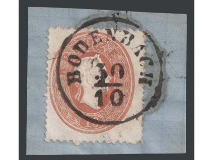 1860, 10 Kr Franc Josef, razítko Bodenbach, výstřižek, MiNr.21