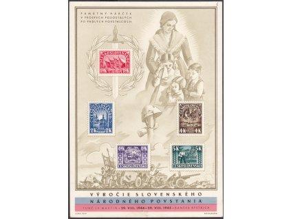 1945, Partizánský aršík, aršíkové pole 6, Nr.A408-412, bez lepu, dv