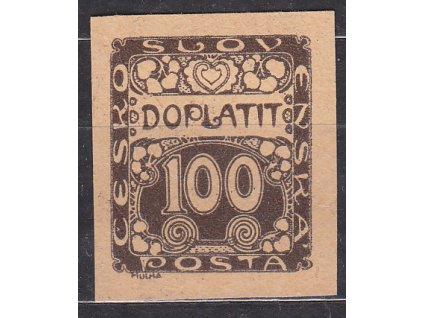 100h hnědá, ZT na nažloutlém papíru, Nr.DL9, bez lepu