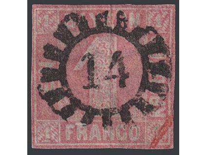 Bayern, 1850, 1 Kr červená, MiNr.3, razítkované