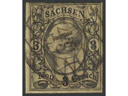 Sachsen, 1855, 3 Ngr Johann, MiNr.11, razítkované