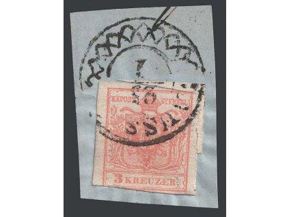 1850, 3 Kr Znak, razítko Aussig, MiNr.3