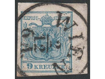 1850, 9 Kr Znak, rohový kus, lehce natrženo v okraji, razítkované