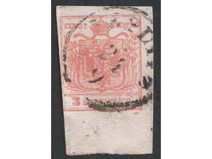 1850, 3 Kr Znak, krajový kus, MiNr.3, razítkované