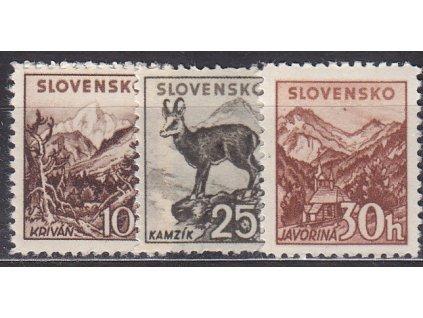 1940, 10,25 a 30h Tatranské, všechny kartonový papír, Nr.48,50,51K, **, ilustrační foto