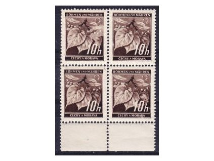 "1939, 10h Ratolest, 4blok s DV - bod v písmenu ""M"" BOHMEN, Nr.21, **"