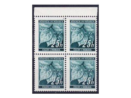 1939, 25h Ratolest, kraj. 4blok s DV - čárka, **