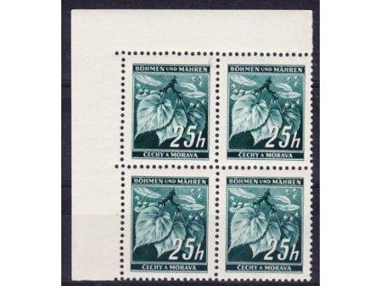 1939, 25h Ratolest, 4blok s DV - bílá čárka, **