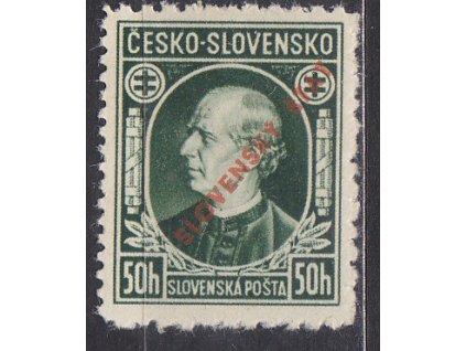 1939, 50h Hlinka, Řz.10 1/2:10 1/2:10 1/2:12 1/2, Nr.23C, * po nálepce