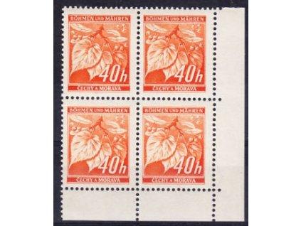 1939, 40h Ratolest, roh. 4blok s DV . čárka, **