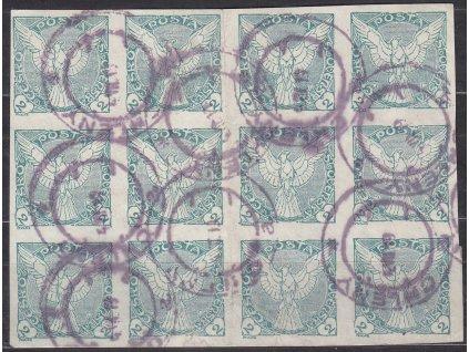2h zelená, 12blok, Nr.NV1, hezký blok nízké hodnoty