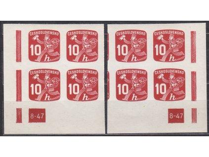 1945, 10h Novinová, L+P roh. 4bloky s DČ 8-47, Nr.NV24, **, luxusní, vzácná DČ