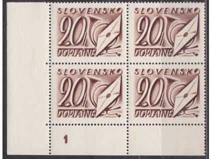 1942, 20h hnědá, roh. 4blok s DČ 1, Nr.DL25, **
