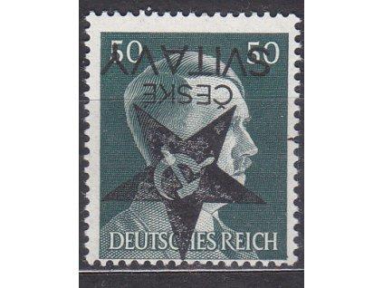50Pfg Hitler, obrácený přetisk ČESKÉ SVITAVY, **