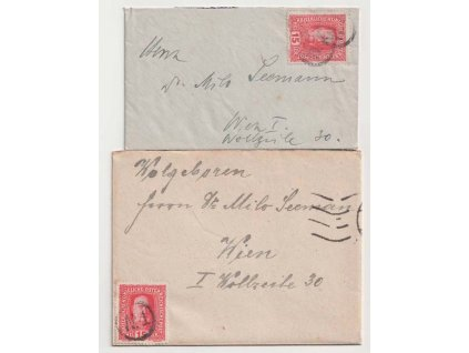 1916, 2 ks dopisů vyfrankovaných známkou 15h Franc Josef