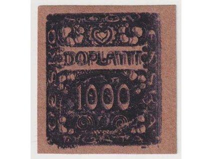 1000h fialová, ZT na nahnědlém papíru - olejový tisk, (*)