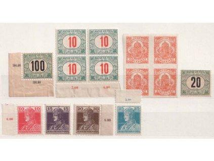 Převrat, 16 ks maďarských známek používaných v ČSR, **