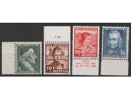 1941, 5-30C série Pro Juventute, MiNr.399-402, **